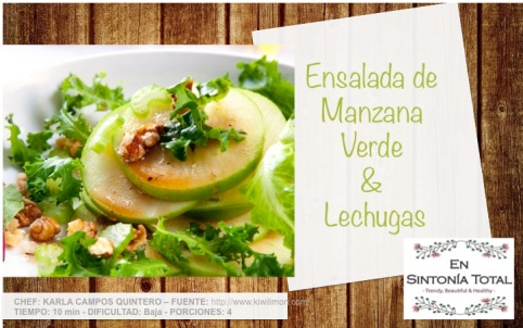Resultado de imagen para foto de ensalada de lechuga y manzana verde
