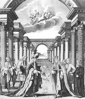 Frontispicio de John Pine para la edicion de las Constituciones de 1723